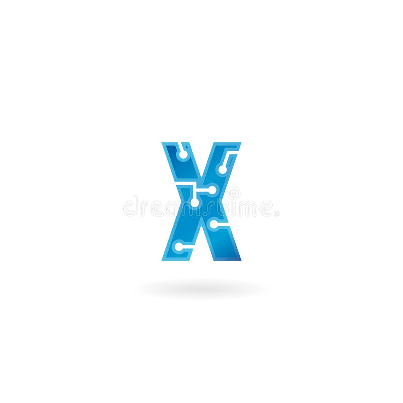 Letter X icon. Technology Smart logo, computer and data related business, hi-tech and innovative, electronic. royalty free illustration