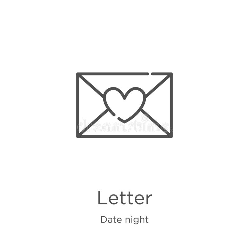 Letter icon vector from date night collection. Thin line letter outline icon vector illustration. Outline, thin line letter icon. Letter icon. Element of date vector illustration