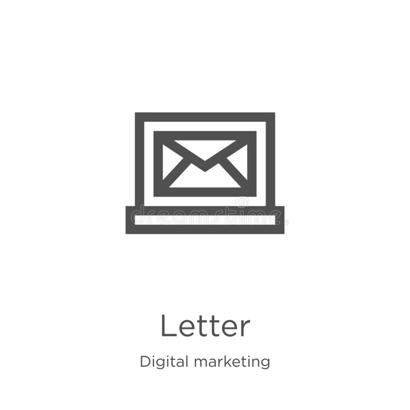 letter icon vector from digital marketing collection. Thin line letter outline icon vector illustration. Outline, thin line letter stock illustration