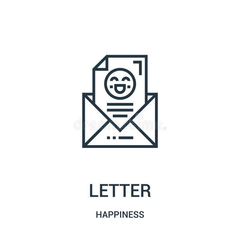 letter icon vector from happiness collection. Thin line letter outline icon vector illustration. Linear symbol for use on web and stock illustration
