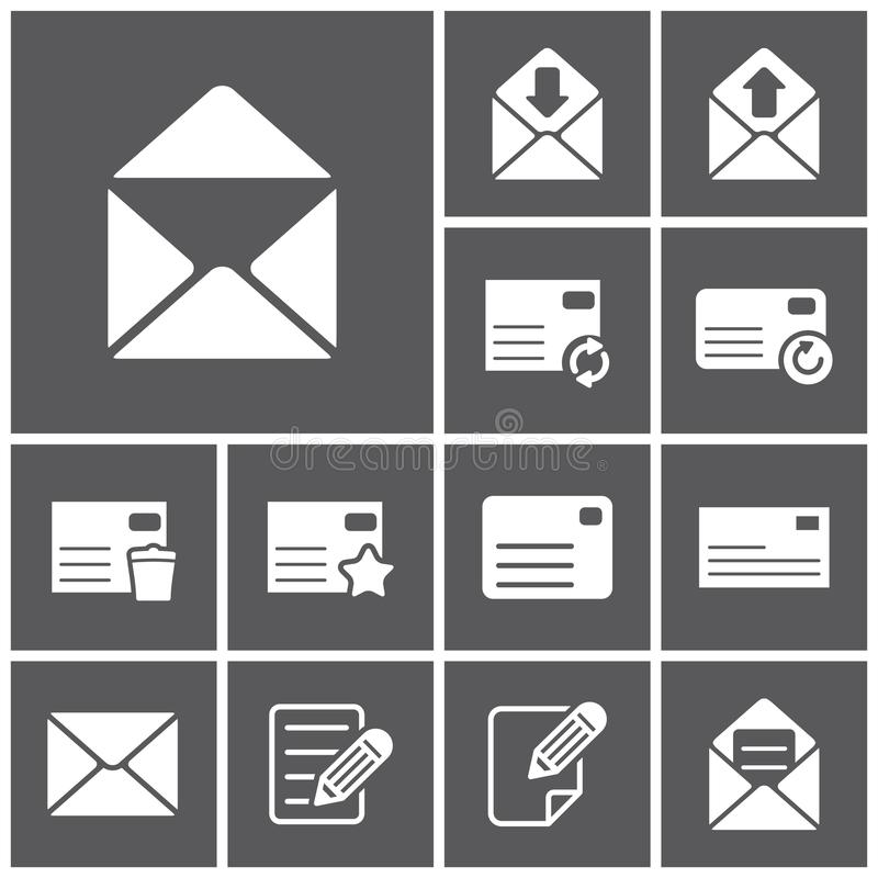 Letter icons. Set of flat simple web icons (letter, mailing, communacation), illustration royalty free illustration