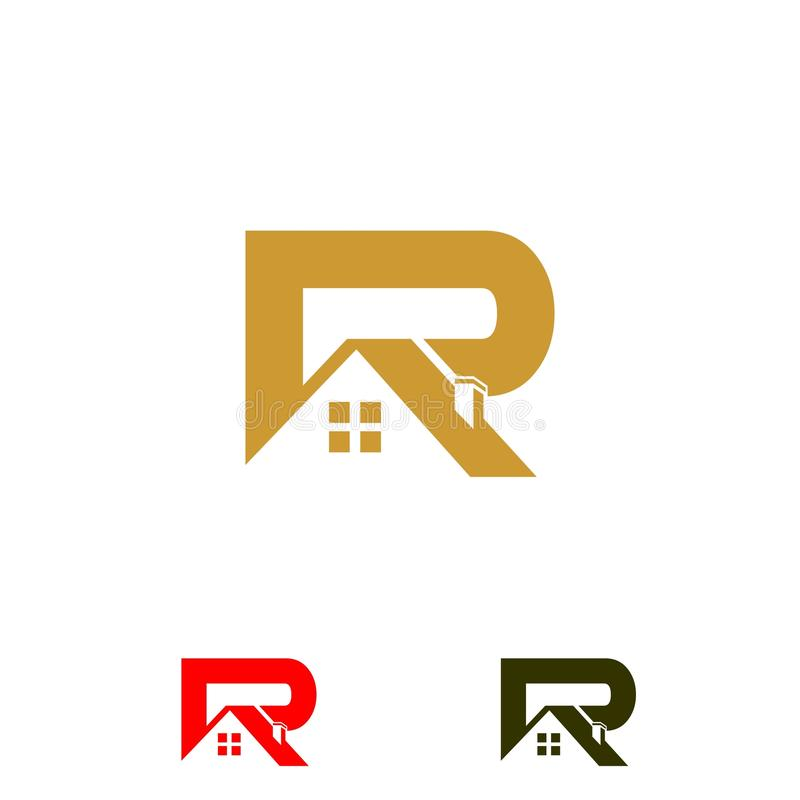 Logo initial letters `R` roof home real estate, construction vector illustration