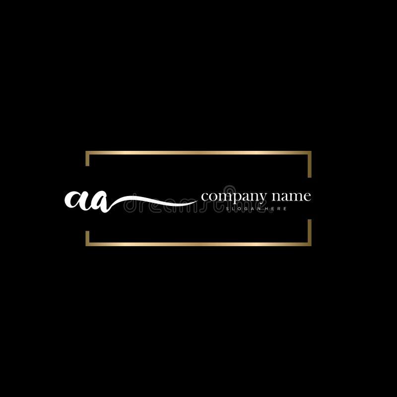 AA initial handwriting logo template vector. royalty free stock image