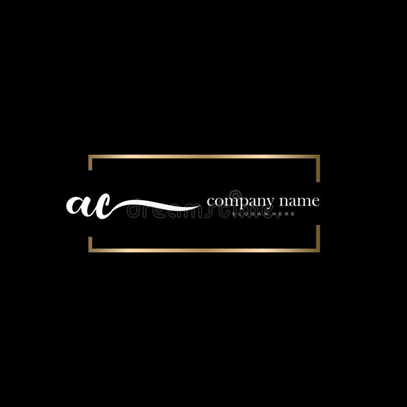 AC initial handwriting logo template vector. royalty free stock image