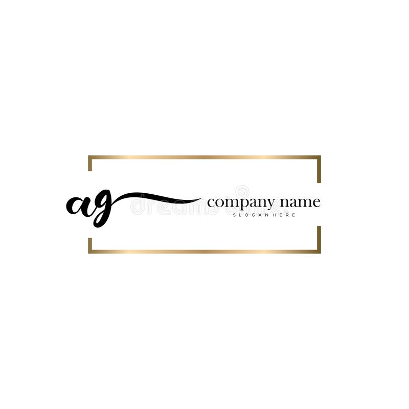 AG initial handwriting logo template vector. royalty free stock images