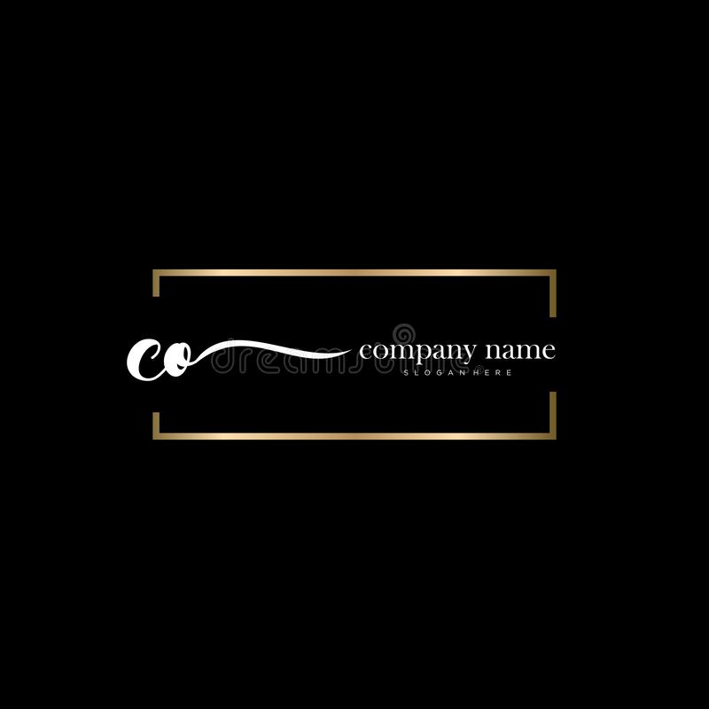 Initial CO Logo Template With Modern Frame. Minimalist CO