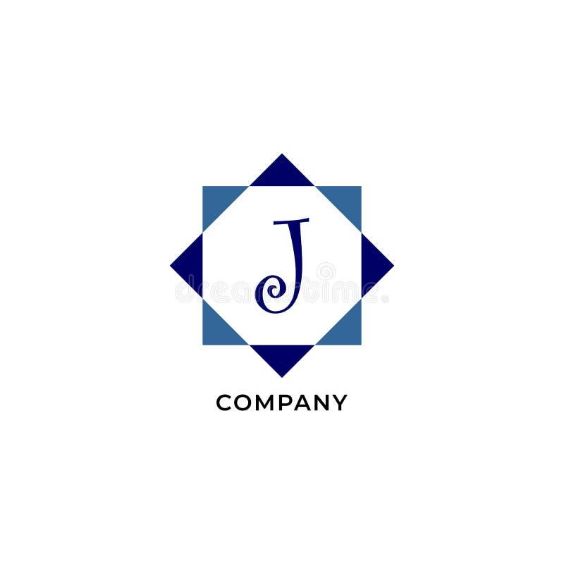 Letter J Alphabetic Logo Design Template, Development company Logo Concept иллюстрация вектора