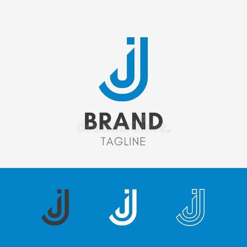 Letter J Line Logo. Template element symbol in sky blue color royalty free illustration