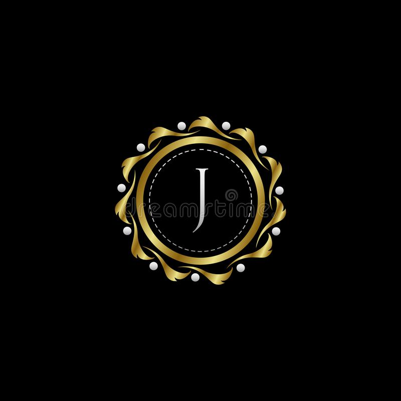 Letter J Luxury Boutique Circle Badge Template Logo. Vector, suitable with classy and vintage theme vector illustration