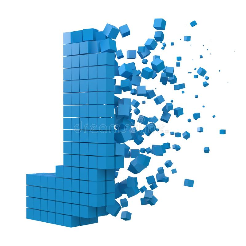 Letter J shaped data block. version with blue cubes. 3d pixel style vector illustration. Suitable for blockchain, technology, computer and abstract themes royalty free illustration