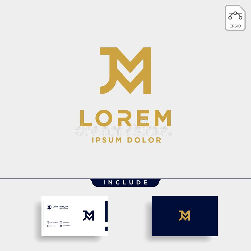 Letter JM MJ M J Monogram Logo Design Minimal. Icon, simple, badge, vector, emblem, line, graphic, symbol, vintage, element, outline, set, stamp, identity stock illustration