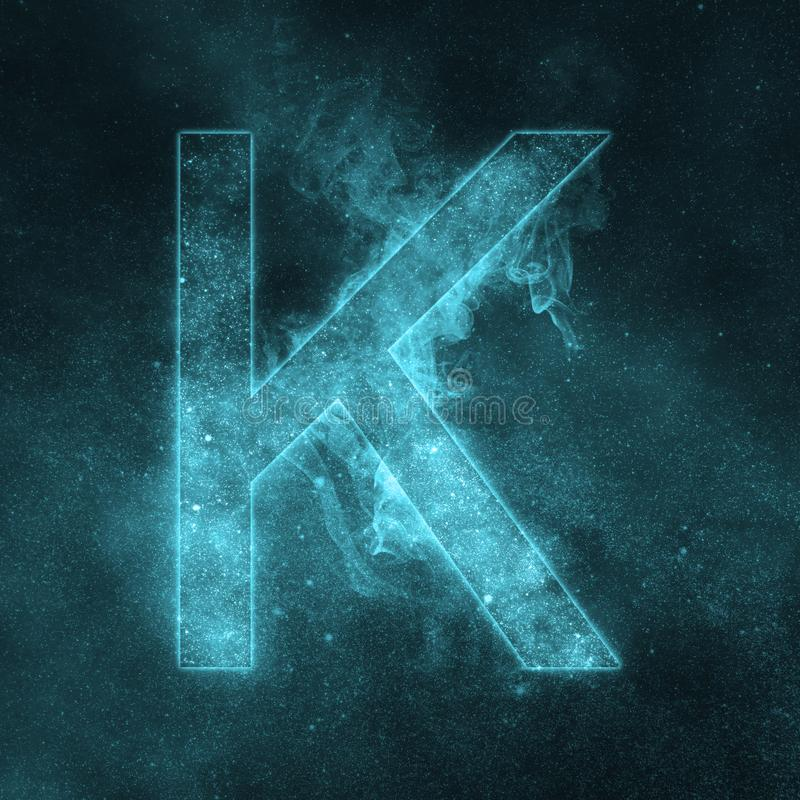 Letter K alphabet symbol. Space Letter, Night Sky Letter. stock illustration