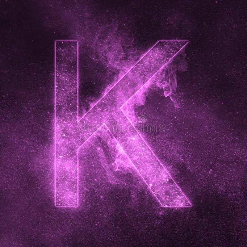 Letter K alphabet symbol. Space Letter, Night Sky Letter. Space letters vector illustration