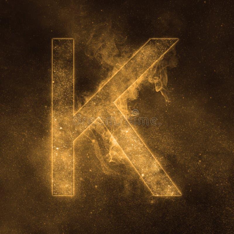 Letter K alphabet symbol. Space Letter, Night Sky Letter. Space letters royalty free illustration