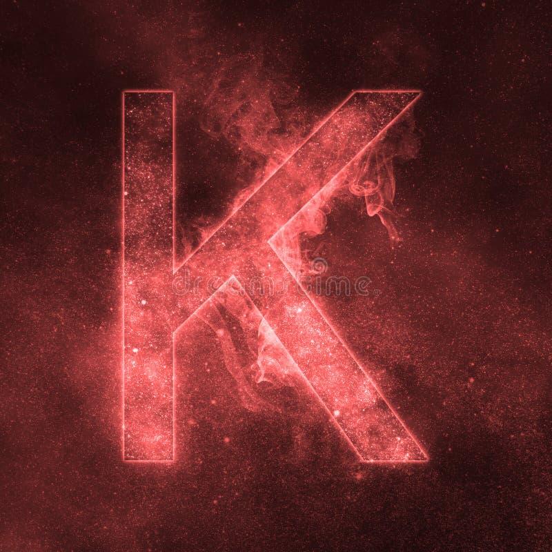 Letter K alphabet symbol. Space Letter, Night Sky Letter. Space letters stock illustration