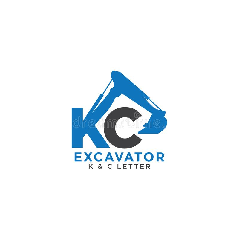 Letter K and C initial excavator vector illustration