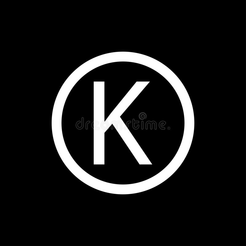Letter k in circle sign. The common meaning of the word Kosher indicates the suitability of a food to be consumed by the Jewish. People according to the dietary royalty free illustration