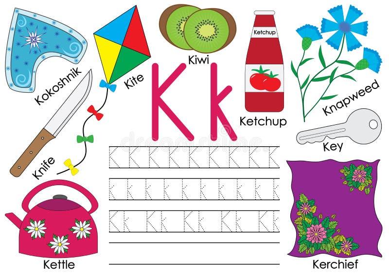 Letter K. English alphabet. Writing practice. Education for children vector illustration