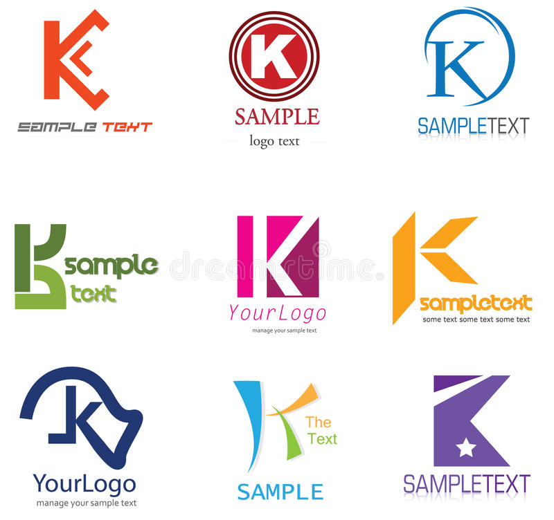 Letter K Logo. Alphabetical Logo Design Concepts. Letter K royalty free illustration
