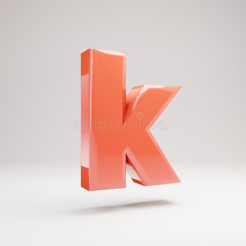 Letter K lowercase. Living Coral font with glossy reflections and shadow isolated on white background stock image