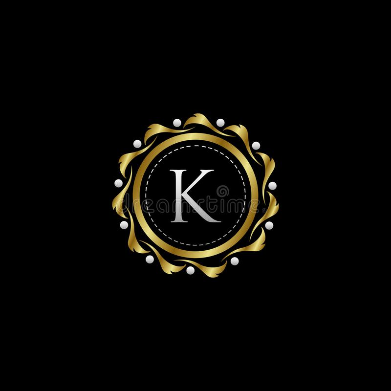 Letter K Luxury Boutique Circle Badge Template Logo. Vector, suitable with vintage theme royalty free illustration