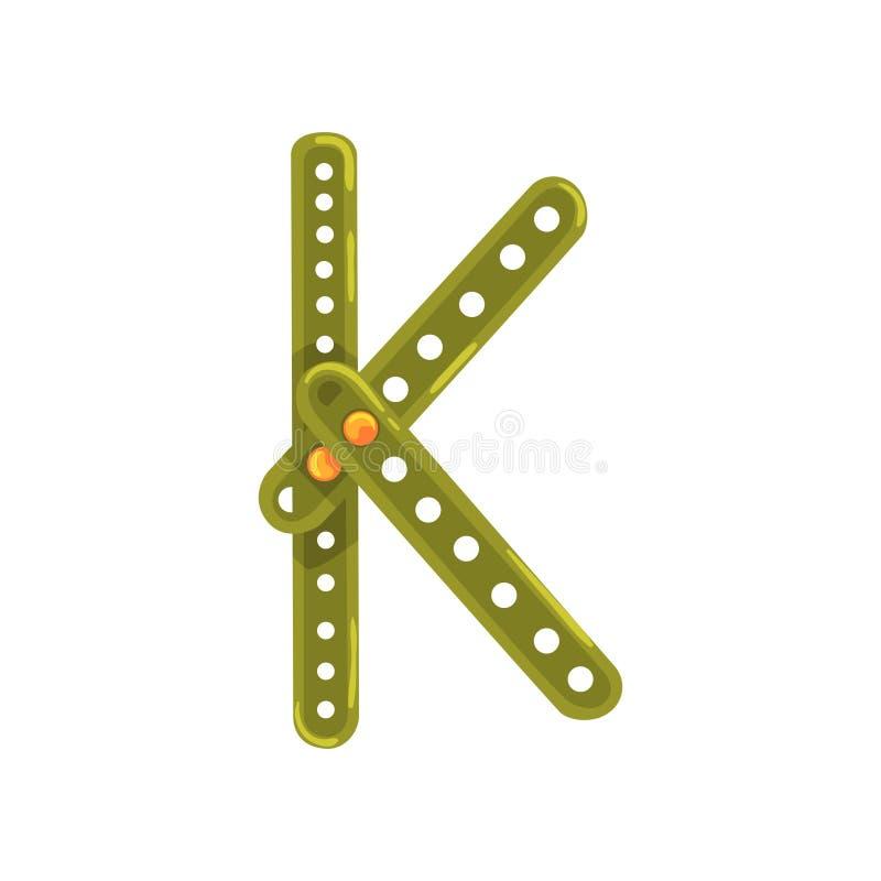 Letter K made of green metallic constructor. Cartoon stock illustration