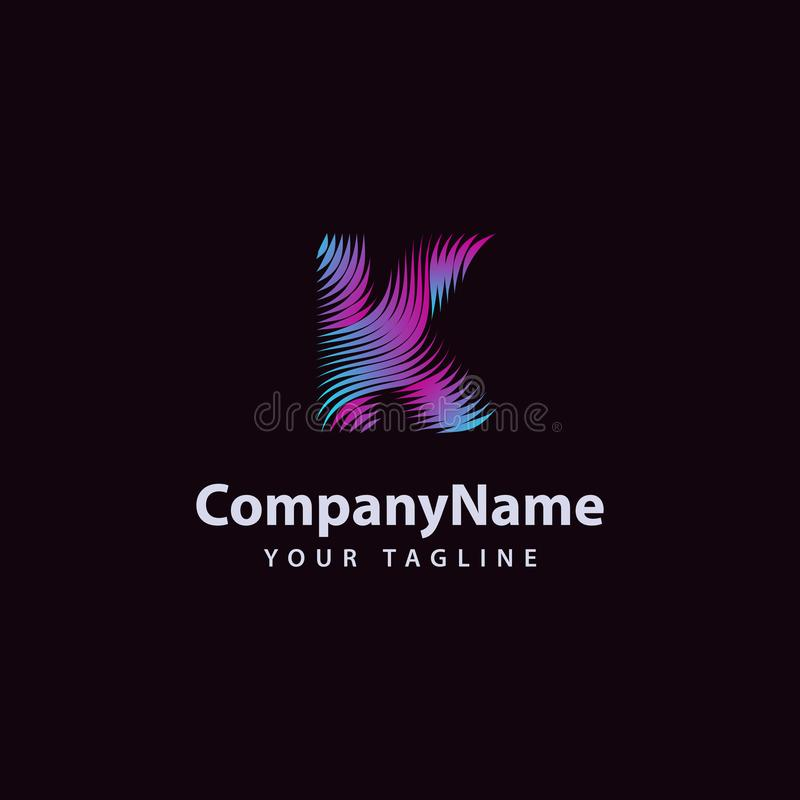 Letter K modern Wave line Logo design template vector illustration