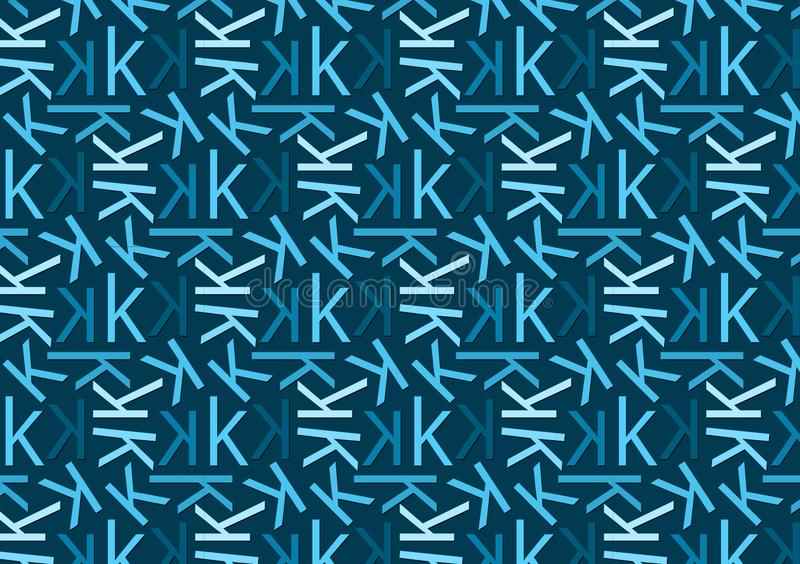 Letter K pattern in different colored blue shades for wallpaper. Letter K pattern in different color blue shades for wallpaper background use royalty free illustration