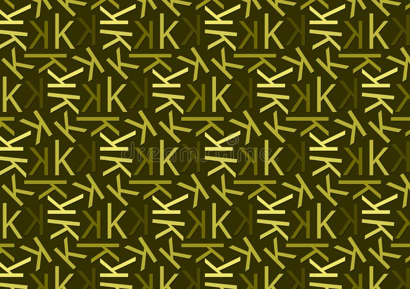 Letter K pattern in different colored green shades for wallpaper. Letter K pattern in different color green shades for wallpaper background use royalty free illustration