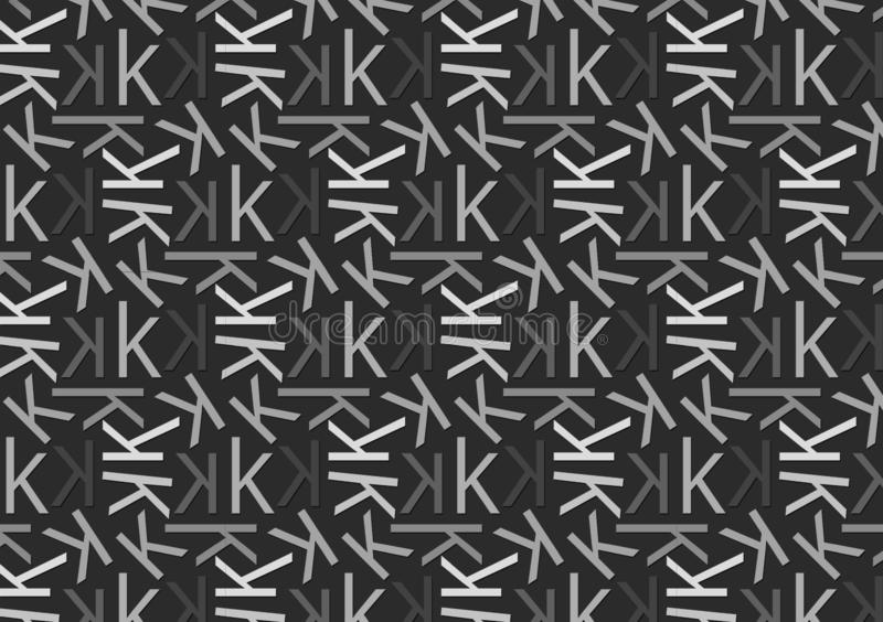 Letter K pattern in different colored grey shades for wallpaper. Background vector illustration