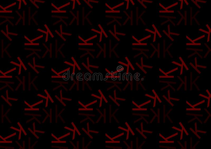 Letter K pattern in different colored red shades for wallpaper. Letter K pattern in different color red shades for wallpaper background use vector illustration