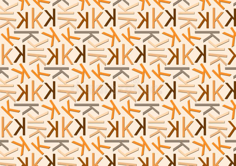 Letter K pattern in different colored shades for wallpaper. Letter K pattern in different color shades for wallpaper background use stock illustration