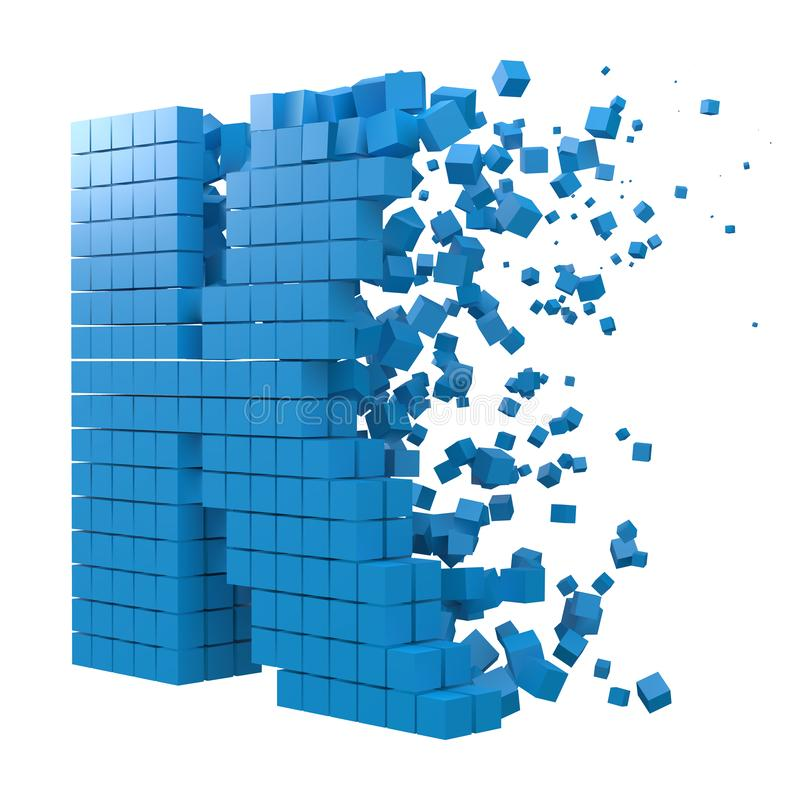 Letter K shaped data block. version with blue cubes. 3d pixel style vector illustration. Suitable for blockchain, technology, computer and abstract themes stock illustration