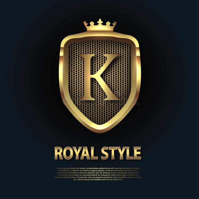 Letter K on the shield with crown isolated on dark background. Golden 3D initial logo business vector template. Luxury, elegant, royalty free illustration