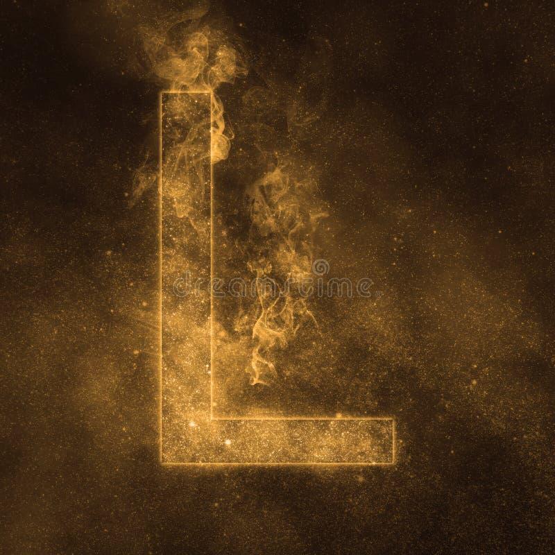 Letter L alphabet symbol. Space Letter, Night Sky Letter. Space letters vector illustration