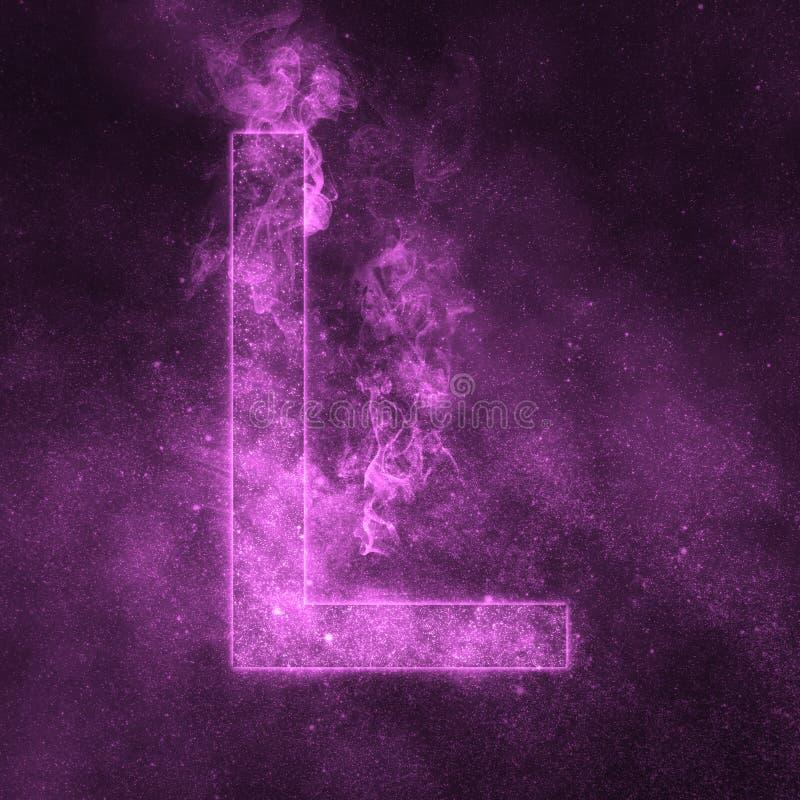 Letter L alphabet symbol. Space Letter, Night Sky Letter. Space letters royalty free illustration