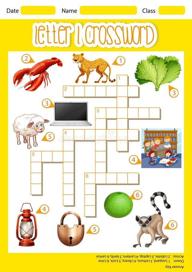 Letter l crossword concept vector illustration
