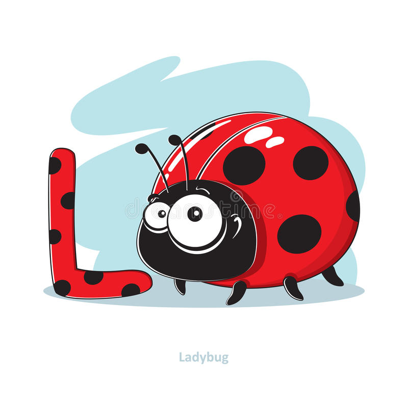 Letter L with funny Ladybug vector illustration