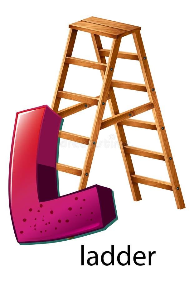 Letter L. Illustration of a letter L is for ladder stock illustration