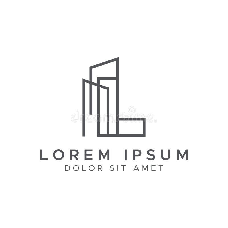 Free Letter L Line Building Logo Vector Design Template. Stock Image - 184383901