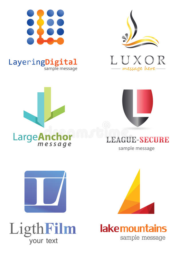 Letter L Logo. Alphabetical Logo Design Concepts. Letter L stock illustration
