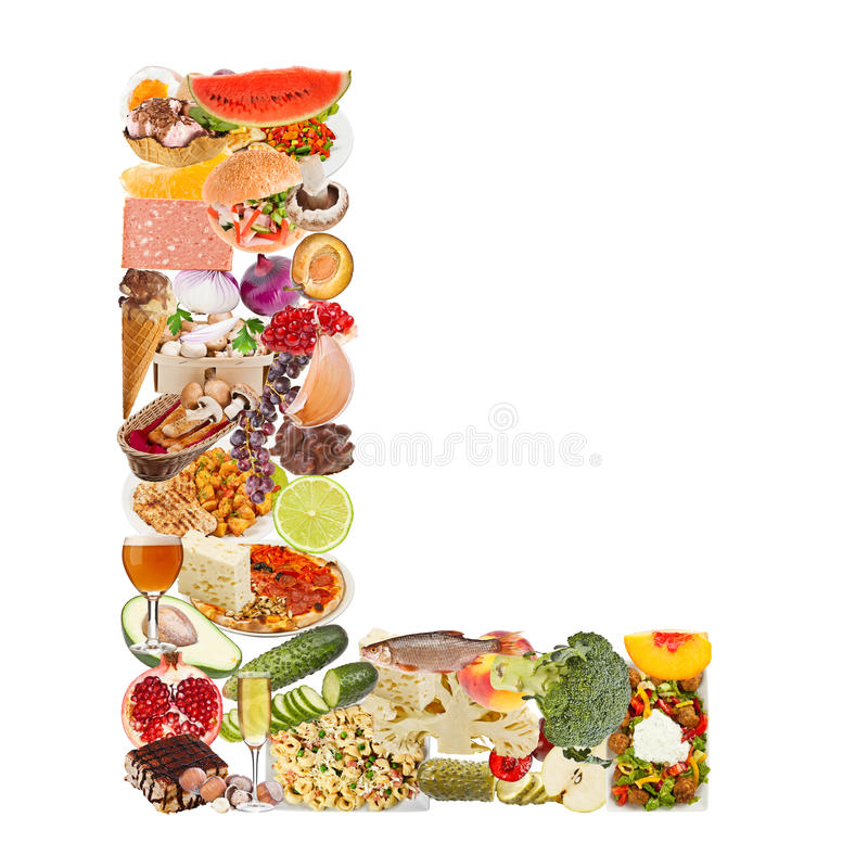Letter L made of food royalty free stock image