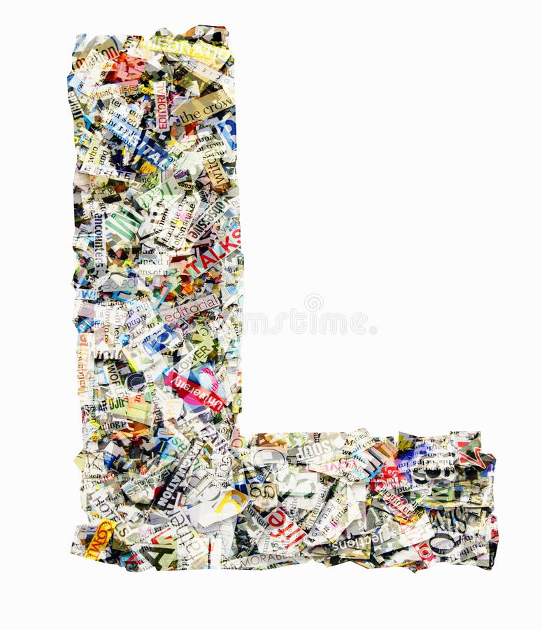 Letter L made from newspaper and magazine royalty free stock images