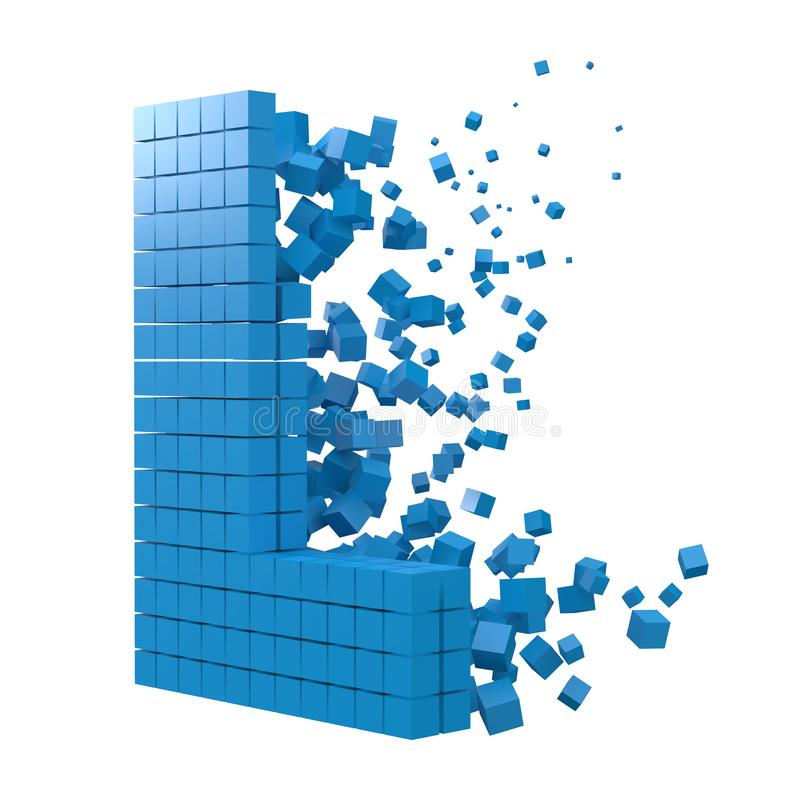 Letter L shaped data block. version with blue cubes. 3d pixel style vector illustration. Suitable for blockchain, technology, computer and abstract themes stock illustration