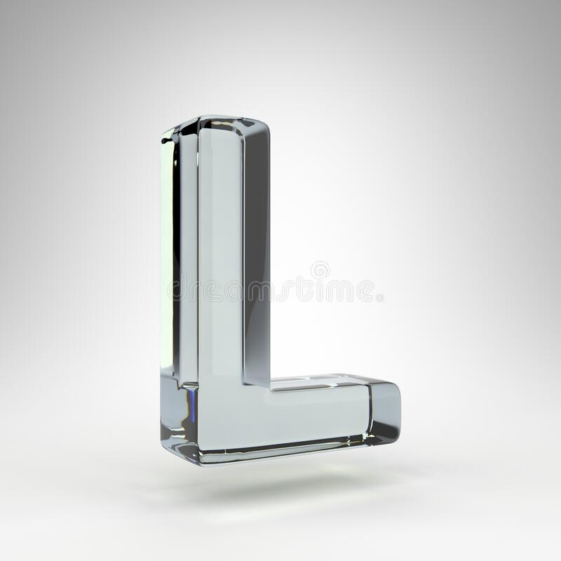 Free Letter L Uppercase On White Background. Camera Lens Transparent Glass 3D Letter With Dispersion. Stock Photo - 206929010