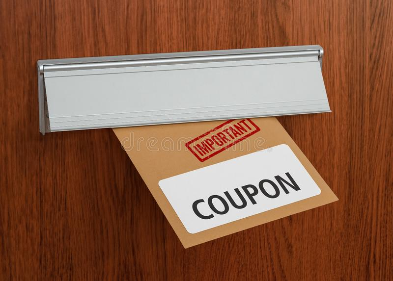 A letter with the label Coupon royalty free stock images