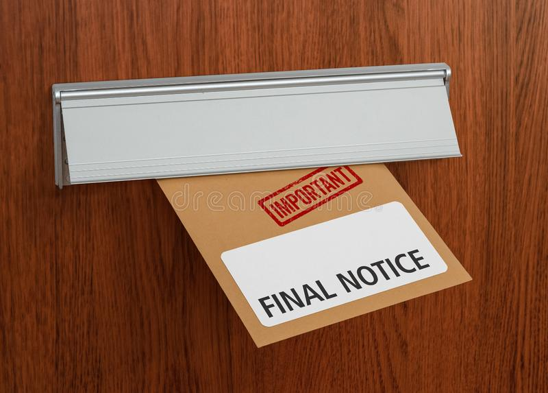 A letter with the label Final notice royalty free stock photography