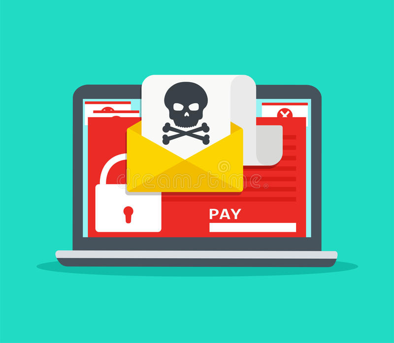 Letter on laptop with malware. Hacker attack. royalty free illustration