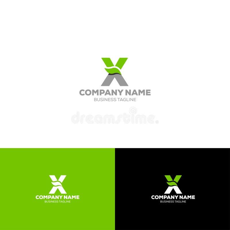 Letter X leave oraganic logo template. Letter X leave logo template for organic, agriculture, food beverage company stock illustration