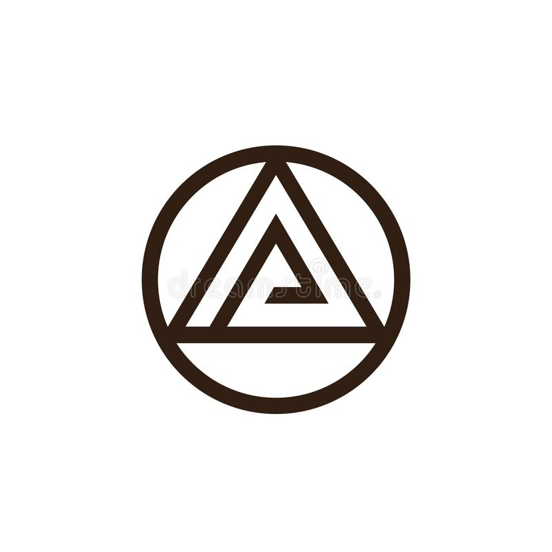 Triangle And Circle Logo Design Abstract Letters O And A Symbol